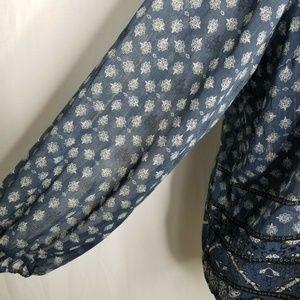 Style & Co Tops - Style&Co Blue Boho Print Metallic Peasant Top